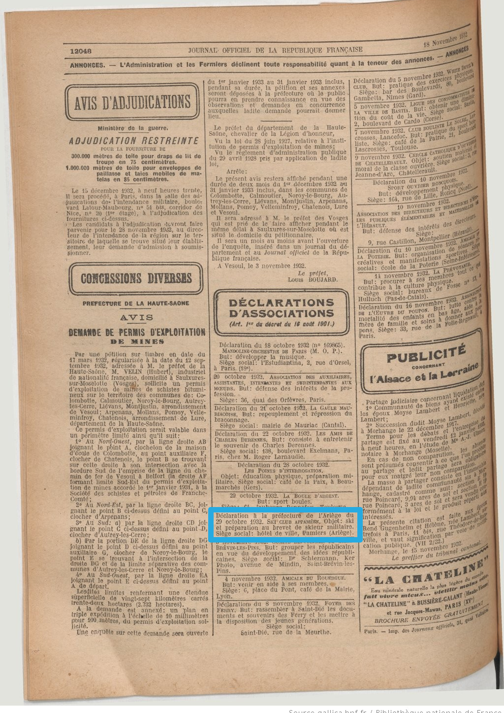1_SMBA - Dépot Journal Officiel 19321118